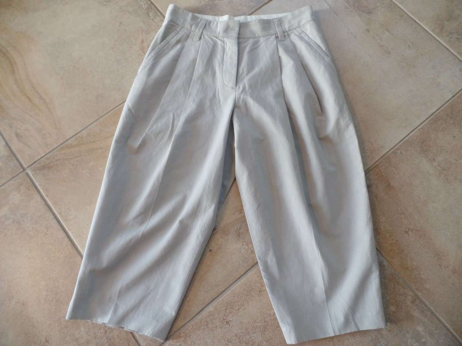 MARC JACOBS Khaki Pleat Front Cropped Wide Pant 8 High Rise