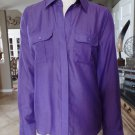 BCBG MAX AZRIA Purple LIAM ROLLED SLEEVES BUTTON DOWN Blouse Shirt TOP SIZE M