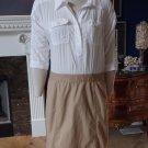 NWT ANN TAYLOR LOFT White Button Front Top Khaki Fitted Skirt Safari Dress 2