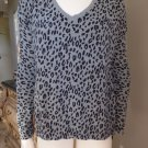 ANN TAYLOR Loft Black/Gray Animal Print V Neck Woven Back Sweater M
