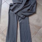 ANNE KLEIN Gray Pinstripe Wool Blend Classic Blazer & Pant Suit 0