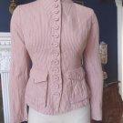 DIANE VON FURSTENBERG Pink Striped Cotton Blend Button Front Jacket Blazer 0