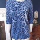 BLOOMINGDALES Blue Animal  Button Front 100% Cashmere Cardigan Sweater M