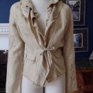 ELIE TAHARI Khaki Embroidered 100% Linen Ruffled Blazer Jacket M