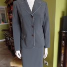 ANNE KLEIN Olive Green With Beige Trim Blazer And Skirt Suit 8