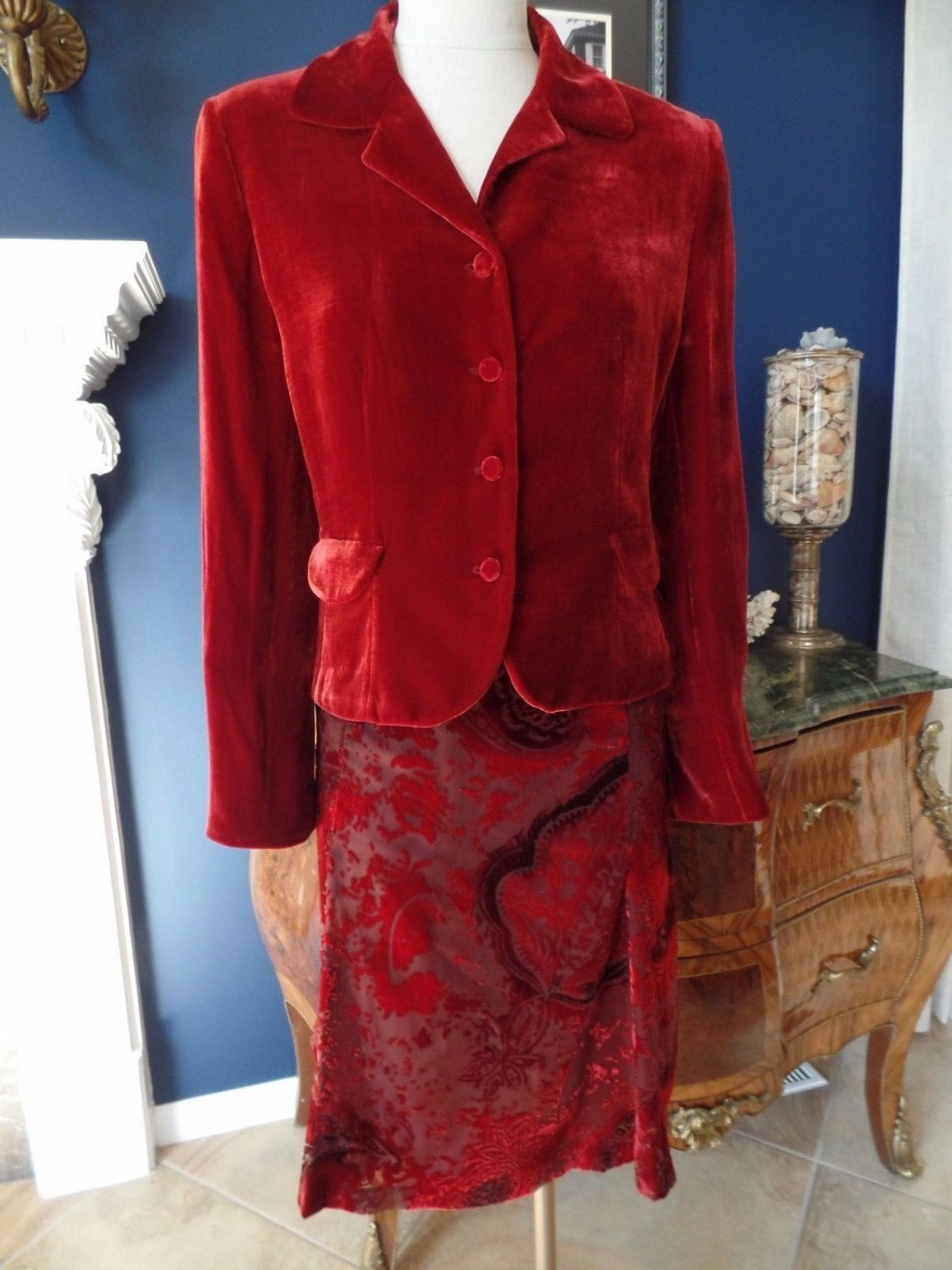 ANNE KLEIN Red Velvet Blazer And Burnout Velvet A Line Skirt Suit 10