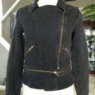 P J K PATTERSON J KINCAID Black Denim Zipper Detail Jacket Blazer S Moto