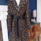 VIA SPIGA Animal Print Leather Waist Belt Wool Blend Coat Jacket 8