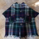 VINTAGE Wool Plaid Blanket With Leather Closures Cape Poncho Wrap L/XL