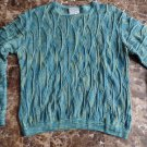 PURELY AUSTRALIAN Teal 100% Cotton Crewneck Textured Sweater S