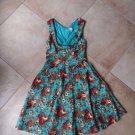 Lindy Bop  Floral Fit & Flare Pinup Swing Rockabilly Retro Sheath Dress M