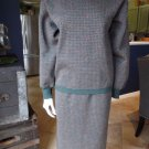 VINTAGE TRICOTS ST RAPHAEL 100% Virgin Wool Sweater & Midi Pencil Skirt Suit L