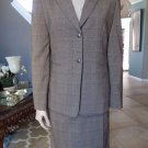 CALVIN KLEIN Brown Plaid  Blazer & Faux Wrap Skirt Suit 4
