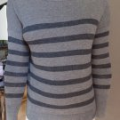 ANN TAYLOR Loft Gray Striped Button Back Thin Knit Long Sleeve Sweater SP