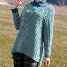 NEW GARNET HILL Boxy Oversized Side Zippers Tunic Sweater Wool Black  XL