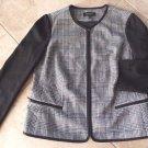 TALBOTS Black & White Cotton Blend Houndstooth Blazer Jacket 14W