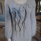 ANN TAYLOR 100% Cashmere Gray Ruffled Front Sweater S