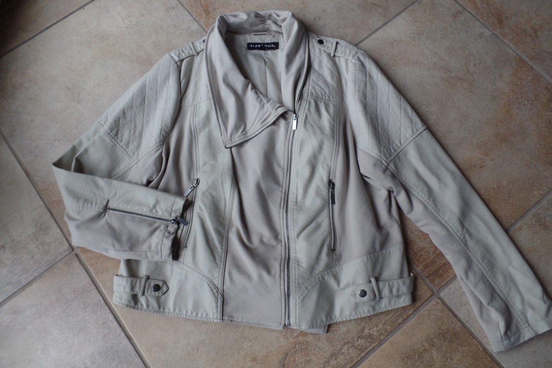 BLANC NOIR Cream Faux Leather Zip Front Moto Jacket 3X