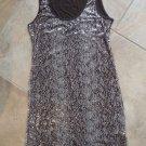 CALVIN KLEIN Brown Stretch Jersey Sequin Front Sleeveless Shift Dress M