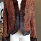 LAFAYETTE 148 Rabbit Fur Trim Open Front Paisley Jacket Blazer 8