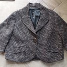 ELIE TAHARI Brown Tweed Swing Blazer Jacket M