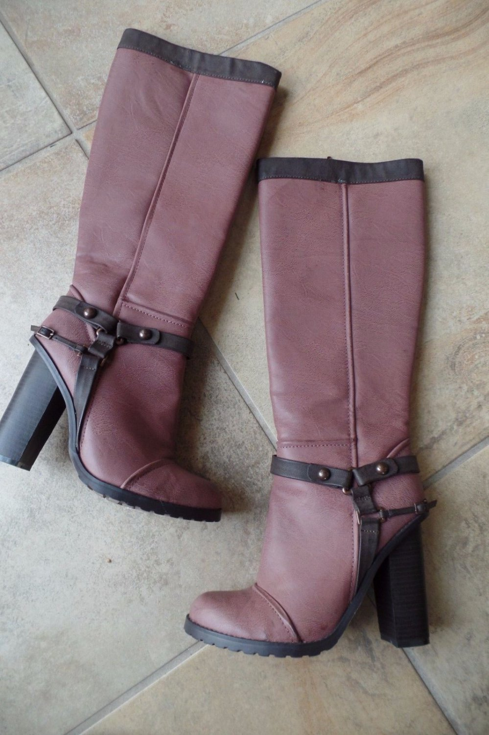 C LABEL Rosewood Moto Ridding Knee Boots 9