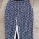 NWOT LTD Navy/White Printed Midi Front Slit Straight Pencil Skirt 2