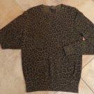 ALLSAINTS Green Animal Print Loose Knit Cotton CrewNeck   Sweater M