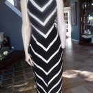 DAVID MEISTER Striped Low Back Halter Long Gown Dress 4