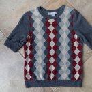 SOPHIA Milano Harlequin  Short Sleeve 100% Cashmere Sweater M