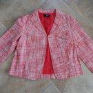 TALBOTS Orange/White Cropped Linen/Cotton Blazer Jacket 4