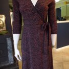 BCBG MAX AZRIA Black/Brown Animal Print Stretch Jersey Wrap Dress XS