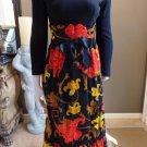 VINTAGE 60's Floral Printed Maxi Patio Dress S