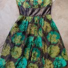 PLENTY BY TRACY REESE Brown Floral Print 100% Silk Strapless Fit & Flare Dress 8