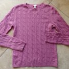 HAYDEN Rose Cable Knit Crewneck 100% Cashmere Sweater S