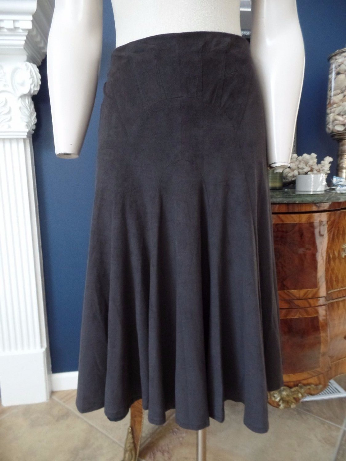 ALBERTO MAKALI Brown Faux Suede A Line Skirt 4