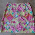 LILLY PULITZER 100% Cotton Pink/Green Monkey Mini Skirt 8
