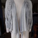 REBECCA TAYLOR Gray Fringed open Front  Cardigan Sweater S