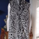COLDWATER CREEK Animal Print Zip Front Faux Fur Vest 1X