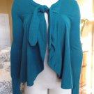 ANTHROPOLOGIE FIELD FLOWER Teal Tie Front Cardigan Sweater M