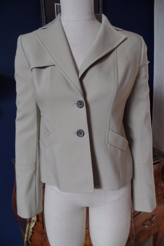 ANN TAYLOR Beige Button Front Safari Jacket Blazer 0