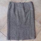 Lafayette 148 Brown Tweed Silk/Wool/Alpaca Straight Pencil Skirt 10