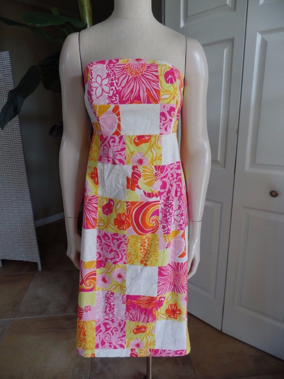 LILLY PULITZER Floral printed Strapless Ties in the back Cutout Sheath Dress 4