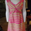 NANETTE LEPORE Striped Silk/Linen  Sleeveless Sheath Dress 10