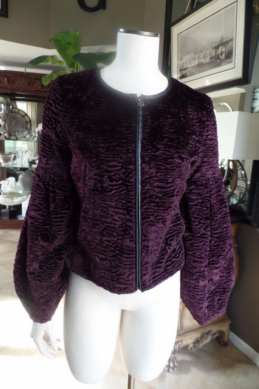 NWOT TROUVE Burgandy Faux Fur Zip Front Puffed Sleeve Blazer Jacket S