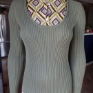 TORY BURCH Green Ribbed Removable Collar Sweater XS
