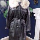 Vintage Black 100%  Leather Fur Collar 3/4 Sleeve Belted Jacket Coat S