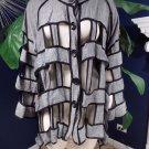 Donna Vinci Gray Linen Blend Cut Out Button Front Top Shirt Blouse 3X
