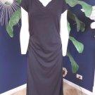 NWT Boston Proper Black V Neck Ruched Short Sleeve Sheath Dress 14