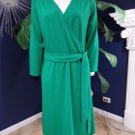 LANDS END Green 3/4 Sleeve Knit Faux Wrap Sheath Dress L 14/16
